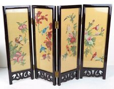 """Chinese Folding Glass Screen Picture Art Flowers Birds Landscape 12"""" x 16.5"""" New"""
