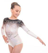 Deluxe Elegant Girls Long Sleeved Gym Lycra Show Sleeve Leotard for Gymnastics