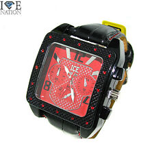 New Men's Ice Nation Hip Hop Designer Pave Look Leather band wrist watch W1004