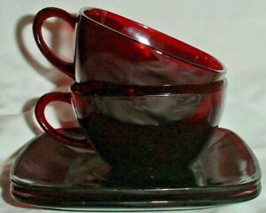 ROYAL RUBY RED GLASS 2 SQUARE CUP SAUCER SETS CHARM PATTERN /ANCHOR HOCKING
