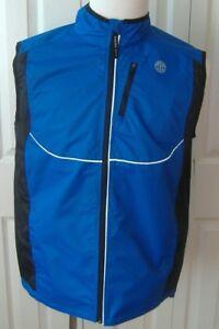 Gold's Gym Mens S/M Small/Medium Reflective Blue/Black Vest-NWT