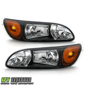 2008-2013 Peterbilt 325/384/386 Truck Black Headlights Headlamps Pair Left+Right