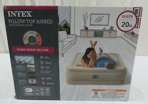 "Intex Queen Pillow Top Airbed With Internal Pump Dura-Beam Deluxe 20"" Height"