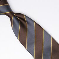 John G Hardy Mens Silk Necktie Gray Brown Gold Regimental Stripe Weave Tie Italy