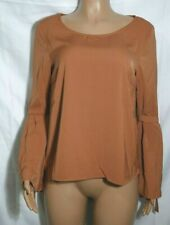 New Vila Ladies Brown Bow Sleeve Top Blouse Size M BNWT