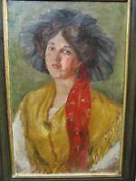 Wien    Frau im Jugendstil in Tracht  Ölgemälde