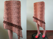 Mujer Retro De Colección Animal Print Asimétrico Casual Flecos rodilla falda talla 10 12 P65