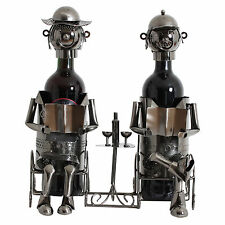 BRUBAKER Porte-bouteille de vin couple sur le banc sculpture en métal décoratif