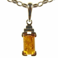GIFT BOXED BALTIC AMBER STERLING SILVER 925 RECTANGLE PENDANT JEWELLERY JEWELRY