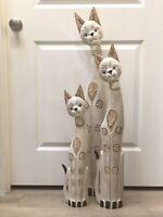 "Cats Wood Statue Set of 3 Metal Spring Moving Neck Art 40x34x24"" ZENDA IMPORTS"