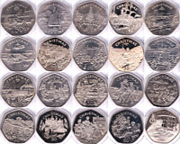 Coins 50p Isle of Man Christmas 1980 - 2016 IOM BU Proof Fifty Pence Rare Scarce