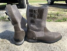 Sorel Major Pull-on Sz 8 Perforated Leather Boots Grey Buckle Combat Slouch NEW