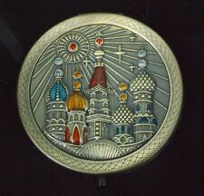 "Handmade Russian Dark Enameled Copper Mirror ""Moscow Square"" FL01-01B"