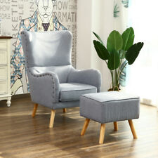 High Back Upholstered Lounge Armchair Wing Chair with Foot Stool Fabric Wood Leg