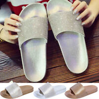 Womens Flat Slides Sandals Diamante Sparkly Sliders Summer Diamond Slippers Size
