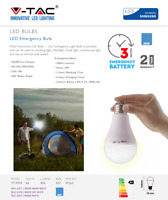 LED Emergency Light Bulb 9W Energy Saving Rechargeable E27 A70 Bulb By V-TAC