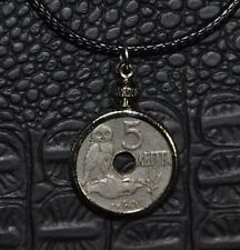 Authentic Greek Owl of Goddess Athena Coin Charm Pendant Black Necklace