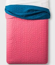 New Pillowfort Triangle Stitch Reversible Quilt And 1 Sham ~ Twin ~ Pink / Blue