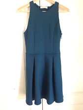 Abercrombie & Fitch Dress M Neoprene Teal Green Tank Pleated Skirt Cut-out Back