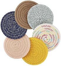 New ListingBraided Coasters for Drinks, 6 Pcs Handmade Absorbent Cotton Round Cup Coasters