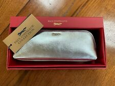 Paul Costelloe Silver Leather Make up Bag Small Clutch Pencil Case Boxed