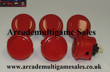 6 Red Sanwa OBSF30 arcade buttons