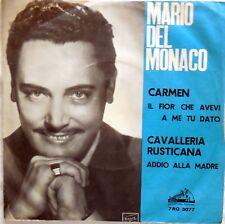 VINILE LP 45 GIRI RPM MARIO DEL MONACO CARMEN CAVALLERIA RUSTICANA 7RQ 3077 1958