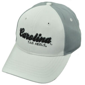 NCAA North Carolina Tar Heels Two Tone White Gray Script Logo Hat Cap Adjustable