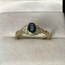 9ct Gold Hallmarked Sapphire & Diamond Ring.  Goldmine Jewellers.