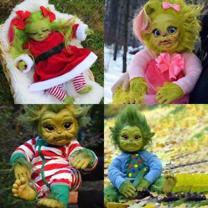 Reborn Baby Grinch Toy Realistic Cartoon Stuffed Doll Plush Animal Kid Xmas Gift