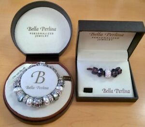 Bella Perlina Charm Bracelet ~ Silver, Pearls, Crystal.  Extra Charms ~ Purple
