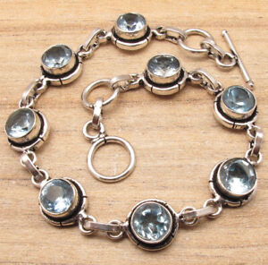 "Beautiful Bracelet 7 5/8""!! 925 Silver Plated BLUE TOPAZ 8 Gemstone Present"