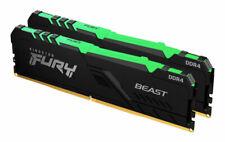 Kingston FURY Beast RGB 16GB (2 x 8GB) PC4-25600 (DDR4-3200) UDIMM Memory - Black (KF432C16BBAK2/16)