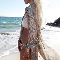 Women Mandala Floral Beach Kimono Blouse Chiffon Cardigan Shawl Cover up Tops AU