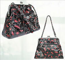 "Black Red Bag Flower Chain Chrome Frame Tote With Kiss Lock 13"" Wide x 10.5"" Hig"