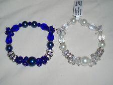 Set Lot 2 Stretch Nicole Arm Bracelets Dark Blue Rhinestones Faux Pearl 1 NWT *