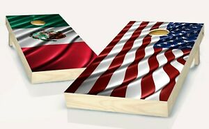Cornhole American & Mexican Flag  Board Vinyl Wrap Laminated Sticker Set