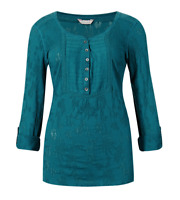 BNWT M&S Indigo Autumn Floral Jacquard Teal Tunic Top Size 10 RRP £22.50 Now £10