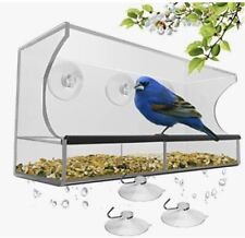 Window bird feeder with strong Suction cups - feed tray large outdoor hanging