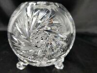 """Vintage Diamond Starburst Cut Leaded Crystal Rose Bowl Vase 4"""" x 4"""" 1.75"""" Votive"""