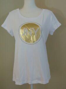 Jones New York JNY New Women's Top Size XL Bling LOGO Spell Out White Zippers