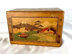 Vintage Hand Made Japanese WOOD PUZZLE BOX w Hidden Drawer Mt. Fuji Red Bird