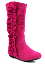 Little Girls Youth JR Tall Mid Calf Western Fringe Fux Suede Ruffle Winter Boots