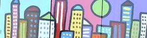 Cityscape City Skyline - Folk Art Pop Painting Texas Artist Paco Felici