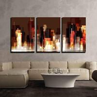 "Wall26 - City Skyline at Night - Canvas Art Wall Decor - 24""x36""x3 Panels"