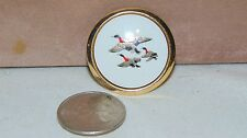 VINTAGE ROUND THREE DUCKS FLYING BROOCH PIN WITH GOLD TONE TRIM