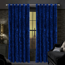 Blackout Crushed Velvet Eyelet Ring Top Ready Made Lined Pair Curtains Panel