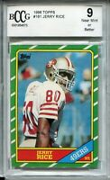 1986 Topps Football #161 Jerry Rice Rookie Card RC Beckett Graded BCCG 9 49ers