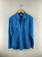 Wrangler Wrancher Shirts Men's Blue Vintage Pearl Snap Button Shirt Top Sz Large