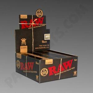 RAW BLACK Classic King Size SLIM Natural Rolling Smoking Paper Skins Rizla 1-50